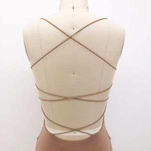 Tiger Mist Tops - Tiger Mist Bodysuit Bentley Strappy Backless Tan